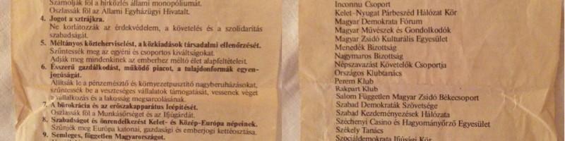 Kordokumentum: 1989 rendszerváltó ünnepének 12 pontja