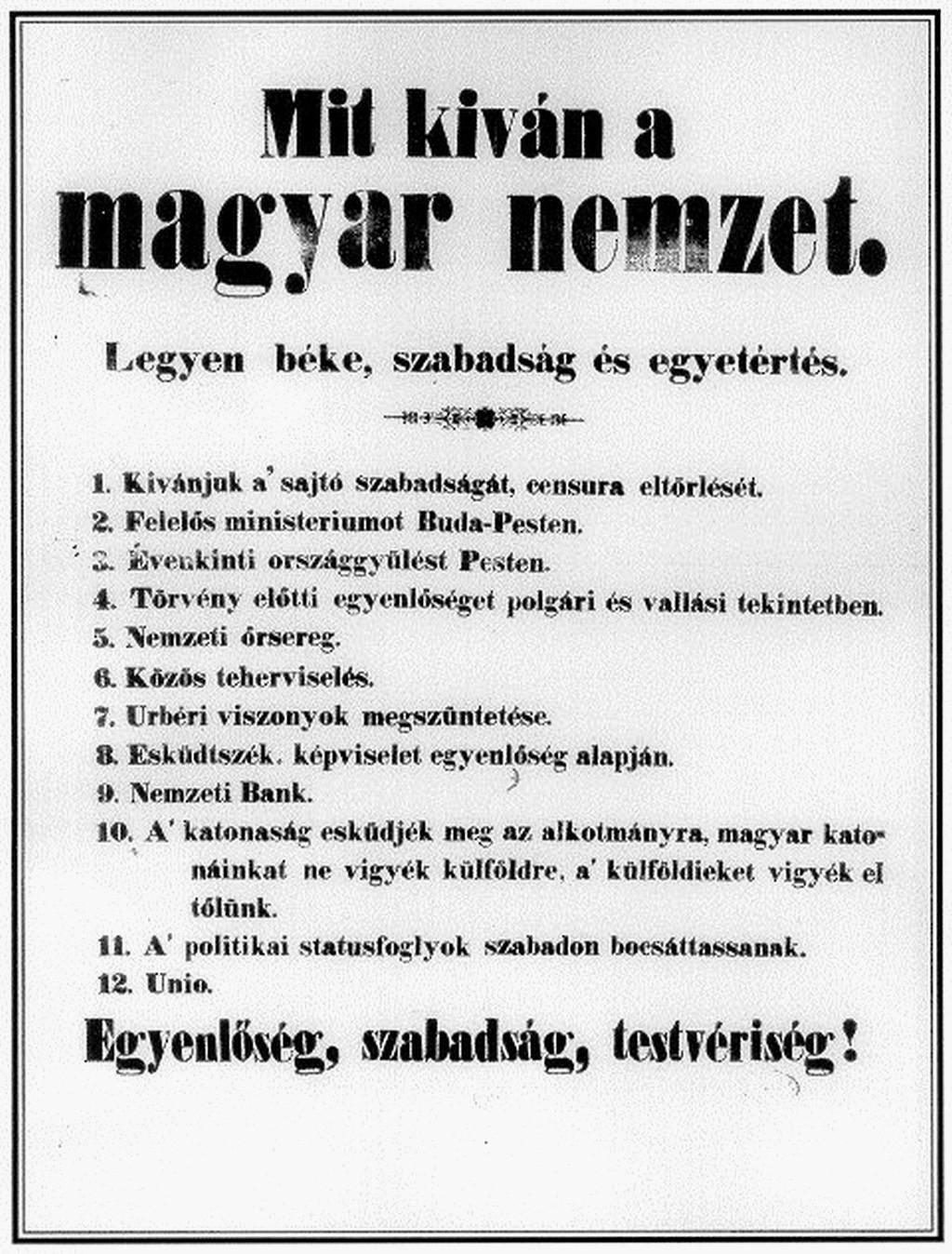 Az 1848–49-es forradalom és szabadságharc 12 pontja