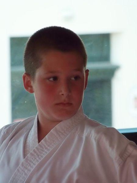 Luca Gergely a kismarosi karatecsoport övvizsgáján 2014. június 13-án, melyen a sárga öv megszerzése volt a cél. - Fotó: Lucza Gergely